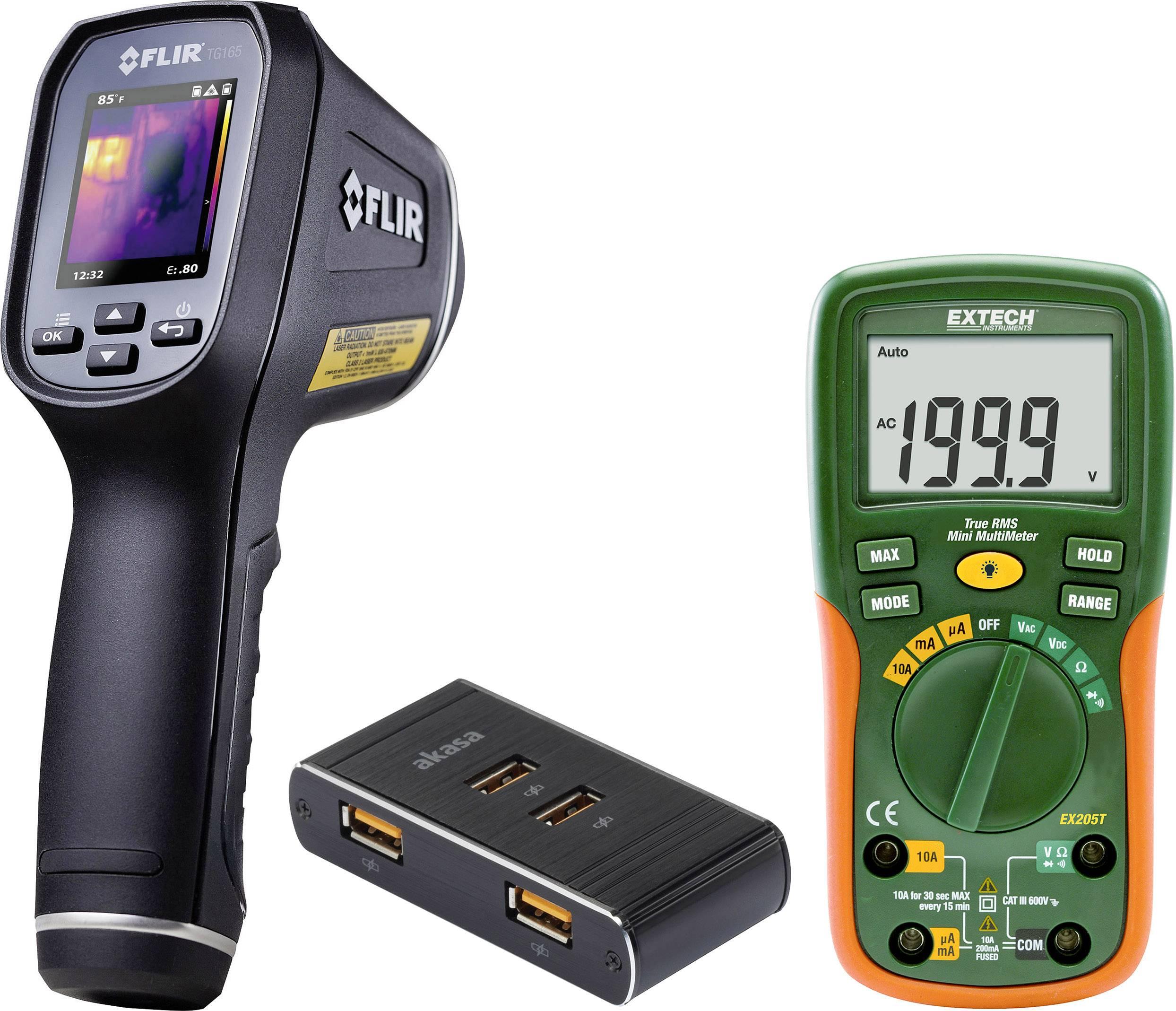 Vizuální infračervený teploměr FLIR TG 165 + nabíječka FPS-3500/4 + multimetr Extech EX205T, sada