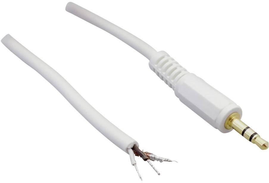 Jack konektor 2.5 mm stereo zástrčka, rovná BKL Electronic 3, biela, 1 ks