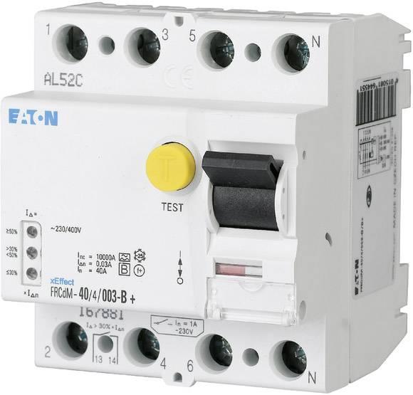 Univerzální proudový chránič pro všechny proudy Eaton 167893, 4pólový, 40 A, 0.03 A, 240 V, 415 V