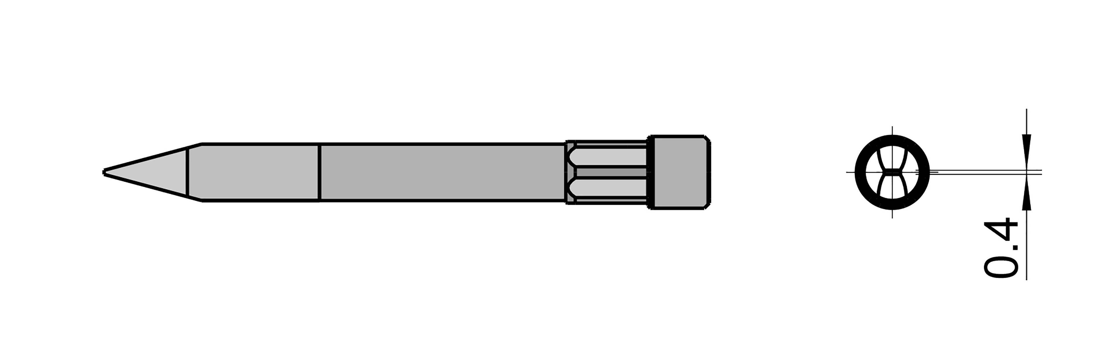 Spájkovací hrot dlátová forma Weller Professional T0054490499, velikost hrotu 0.4 mm, délka hrotu 59 mm, 1 ks