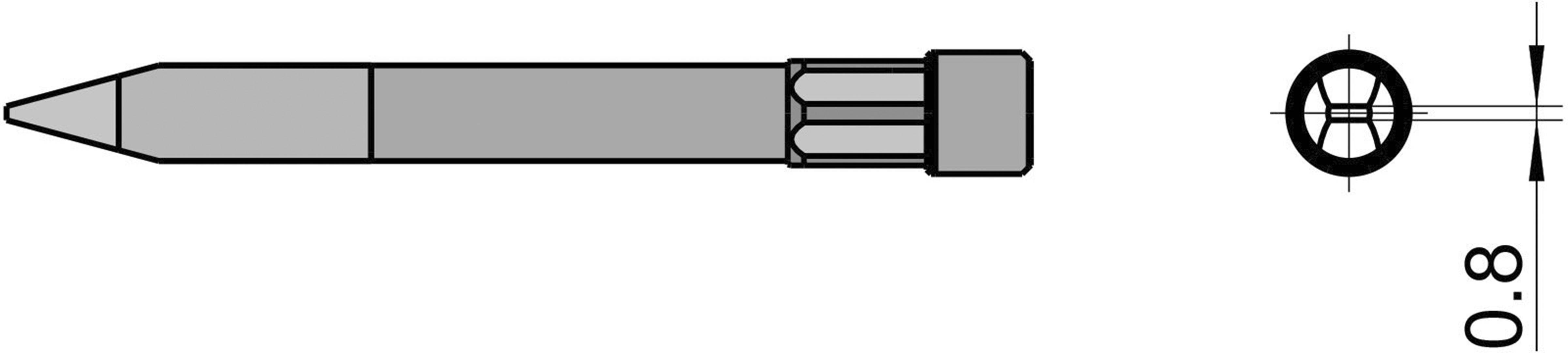 Spájkovací hrot dlátová forma Weller Professional T0054490599, velikost hrotu 0.8 mm, délka hrotu 59 mm, 1 ks