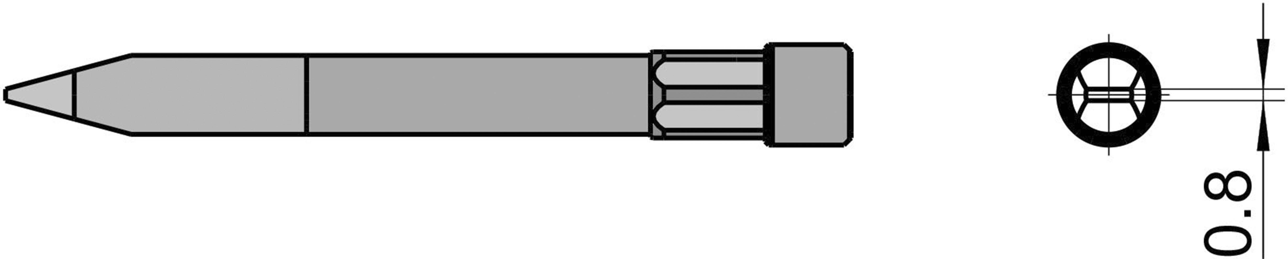 Spájkovací hrot dlátová forma Weller Professional T0054490699, velikost hrotu 0.8 mm, délka hrotu 59 mm, 1 ks