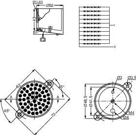 LEDreflektor Kingbright BL0106-15-48, 10.5 V, 2000 mcd, BL0106-15-48, žltá