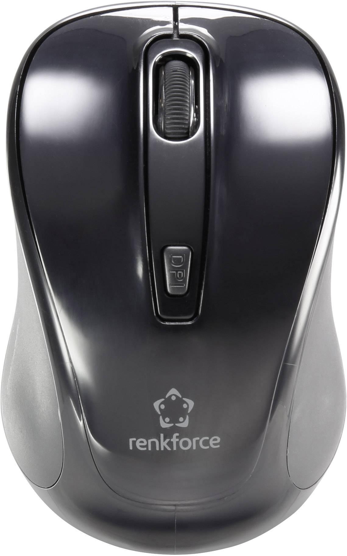 Bluetooth myš optická Renkforce B1401E RF-4478754, integrovaný scrollpad, čierna