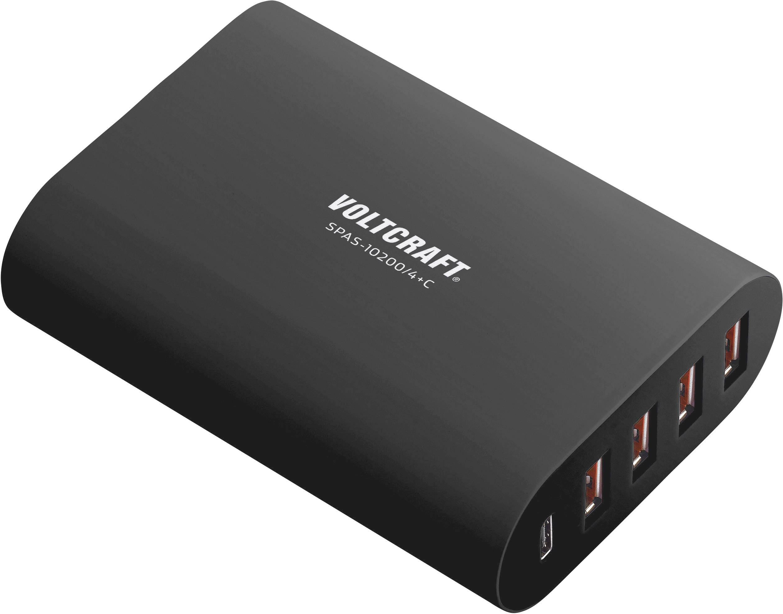 Superrychlá USB nabíječka pro 5 zařízení VOLTCRAFT SPAS-10200/4+C, 10200 mA, černá