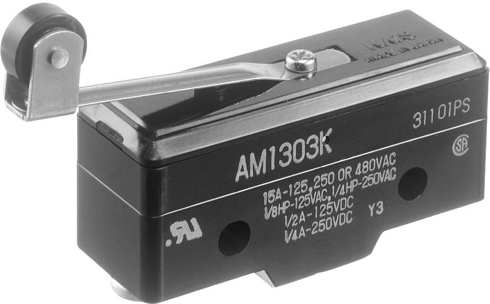 Koncový spínač Panasonic AM1303F, 250 V/AC, 10 A, flexibilní páčka s rolnou, bez aretace, IP40, 1 ks