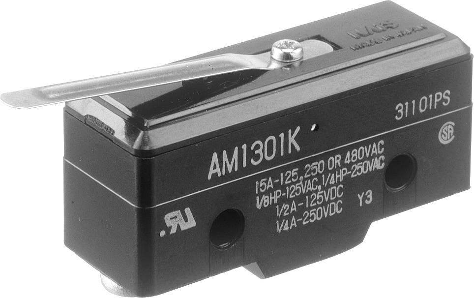 Koncový spínač Panasonic AM1301F, 250 V/AC, 10 A, rovná kovová páka, bez aretace, IP40, 1 ks