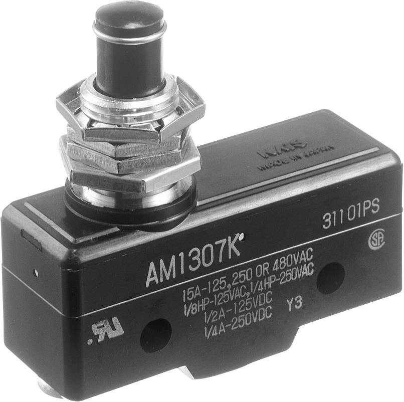 Koncový spínač Panasonic AM1307F, 250 V/AC, 10 A, tŕň so závitom, bez aretácie, IP40, 1 ks