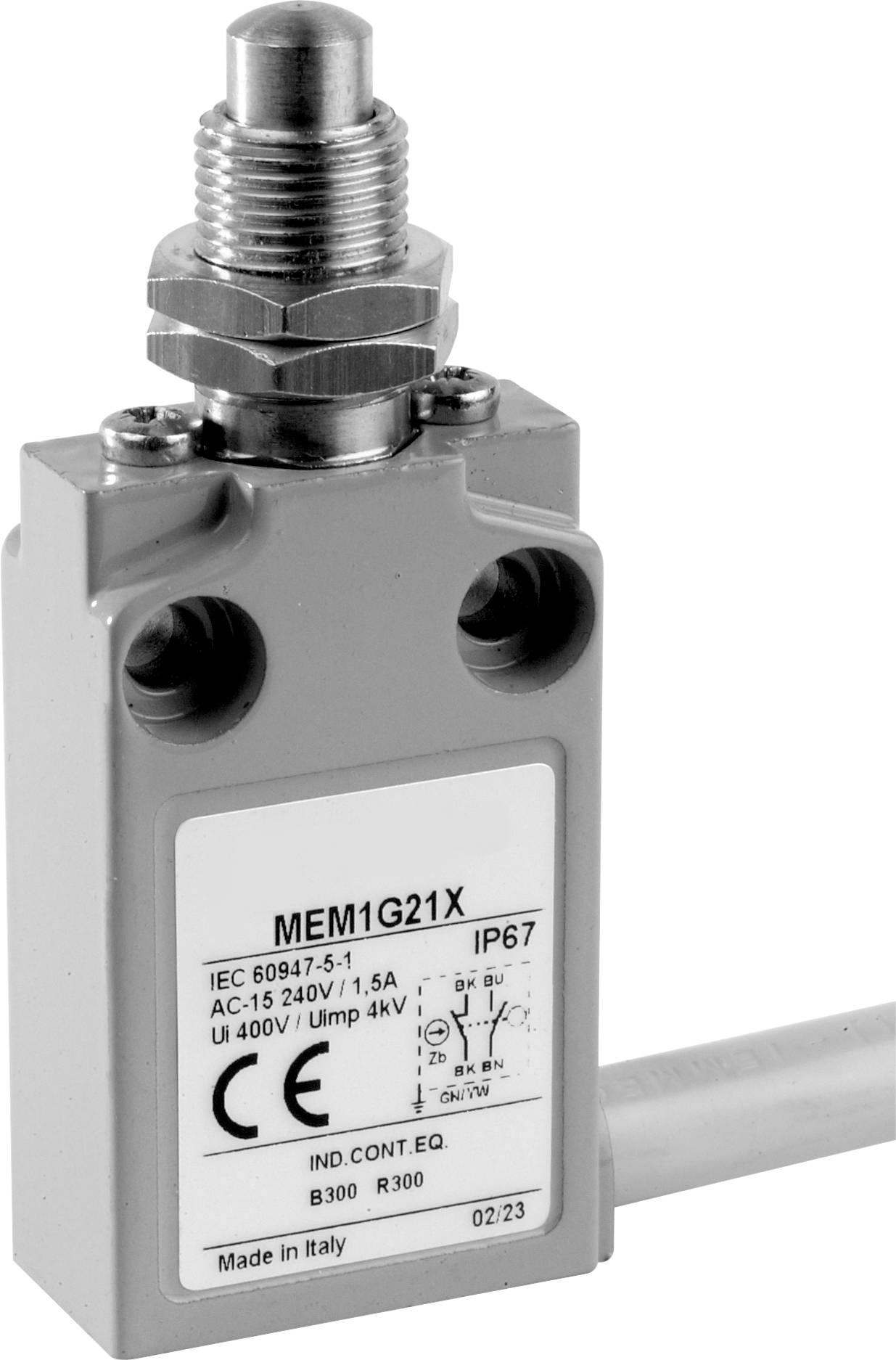 Koncový spínač Panasonic MEM1G21ZD, 24 V, 5 A, tŕň so závitom, IP67, 1 ks