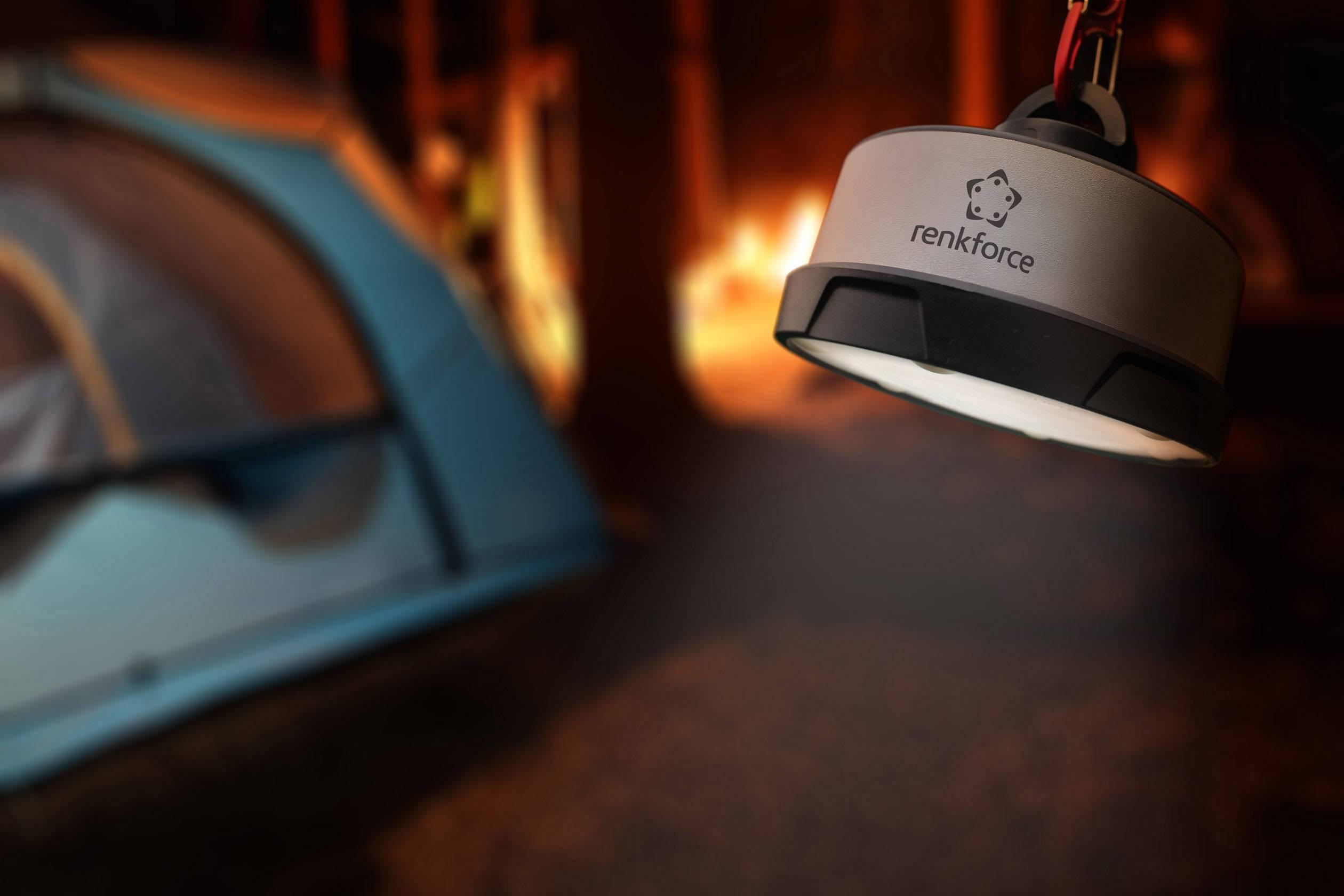LED campingové osvetlenie Renkforce Prometheus PM-100A, 600 g, čierna/strieborná