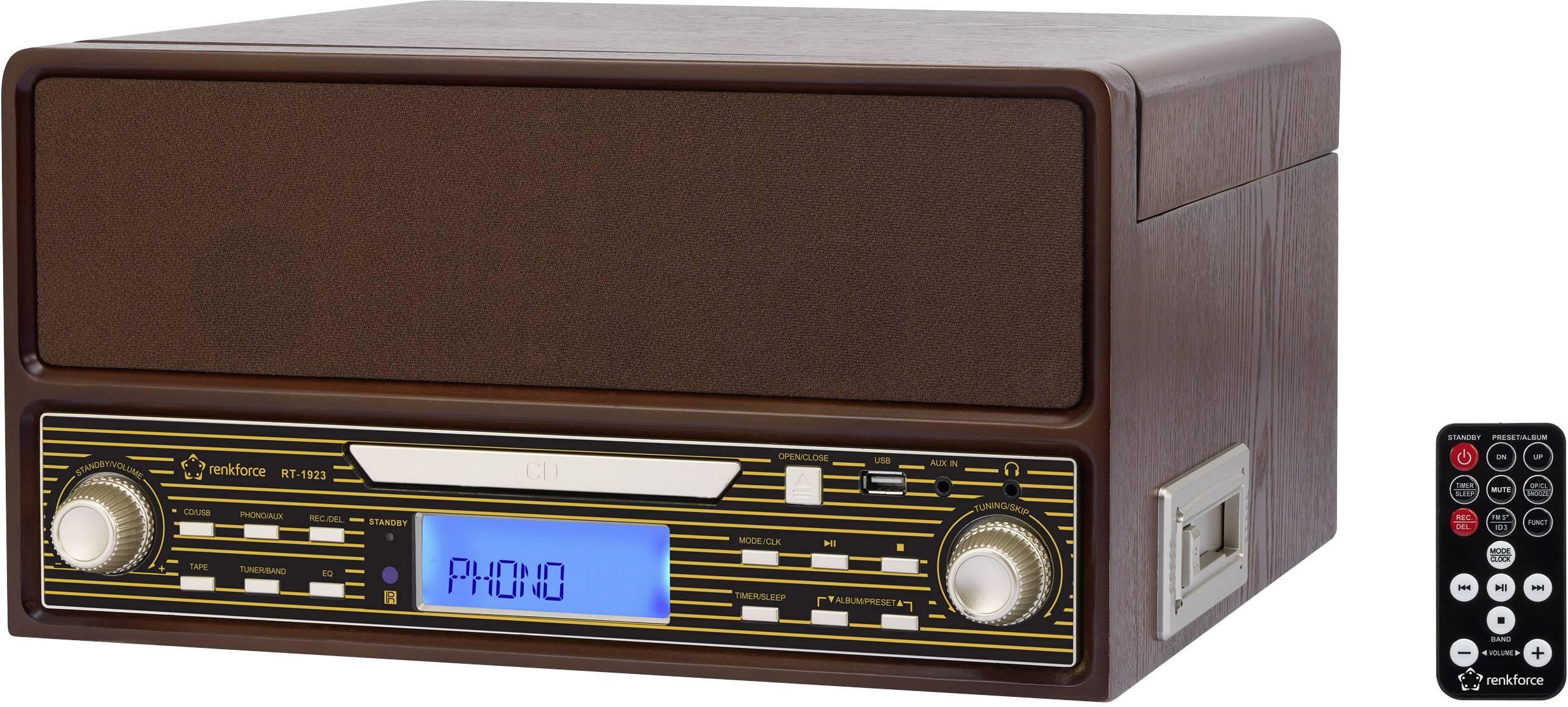 Retro USB gramofon s rádiem, přehrávačem kazet, CD/MP3 Renkforce RT-1923 s dálk. ovladačem, dřevo