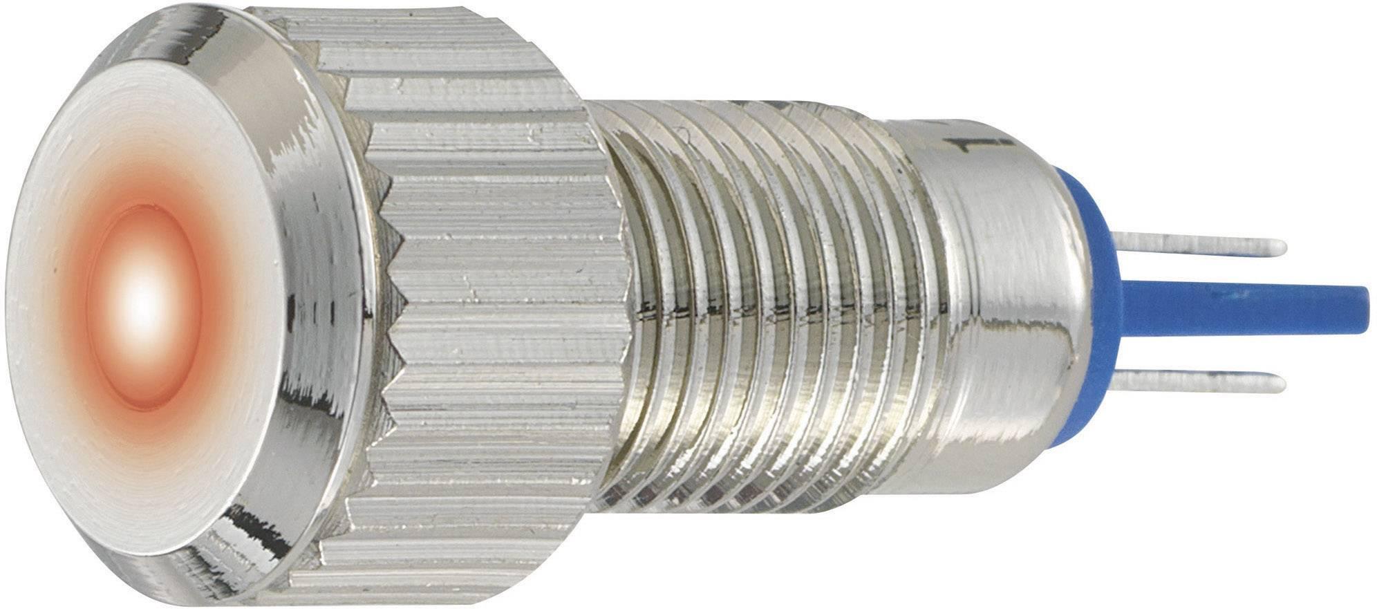 LED signálka GQ8F-D/R/12V/N, IP67, 12 V, poniklovaná mosaz, červená