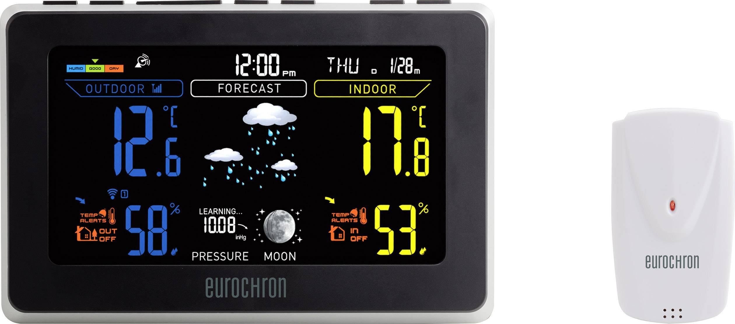 Digitálna bezdrôtová meteostanica s USB nabíjačkou na mobil Eurochron EFWS S550 čierna, sivá
