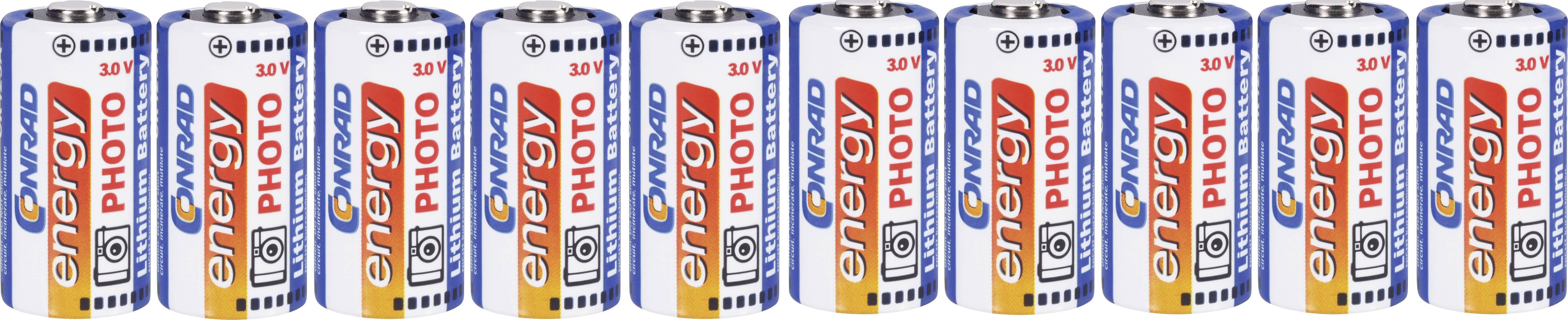 Lítium fotobatéria CR-123A Conrad energy CR123, 1500 mAh, 3 V, 10 ks