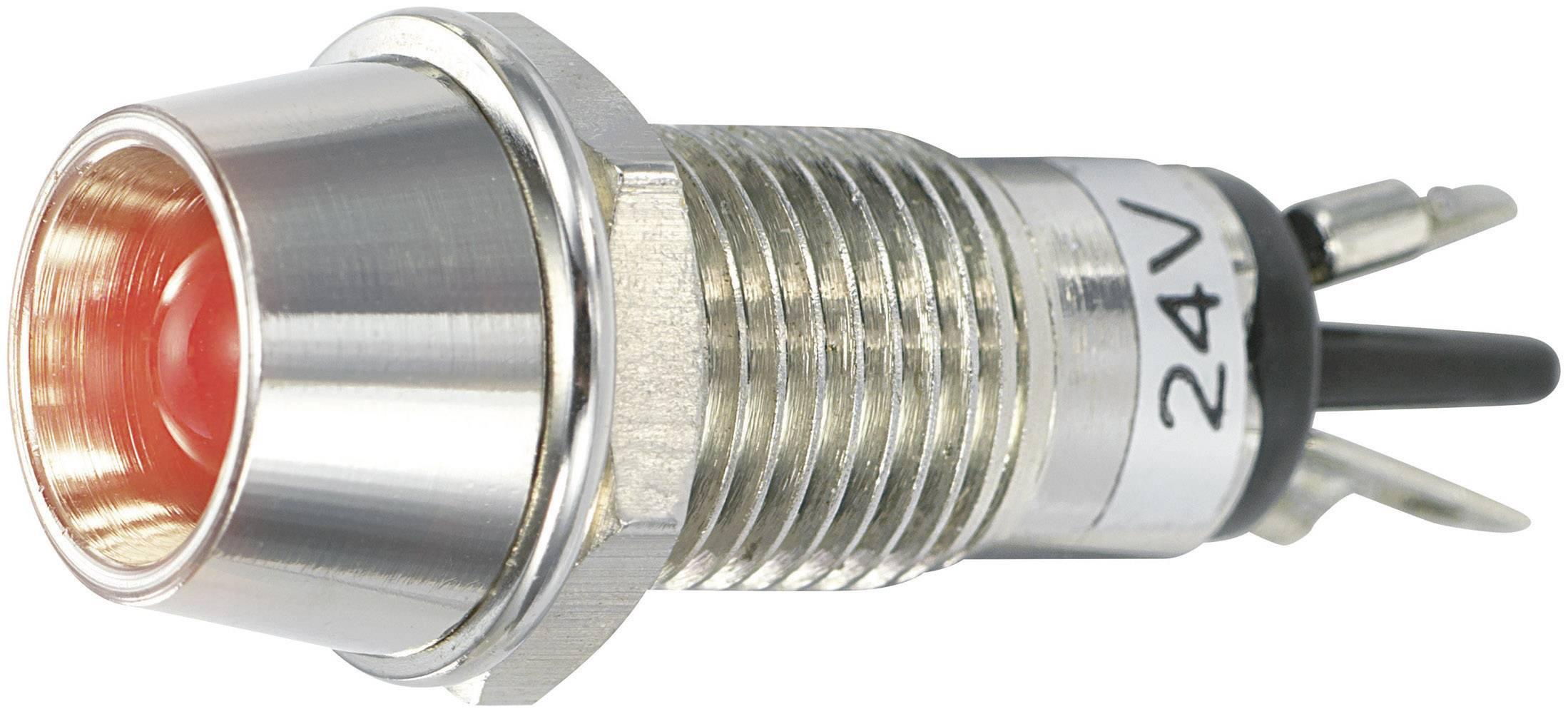 LED signálka SCI R9-115L 24 V RED, LED vnitřní reflektor 5 mm, 24 V/DC, červená