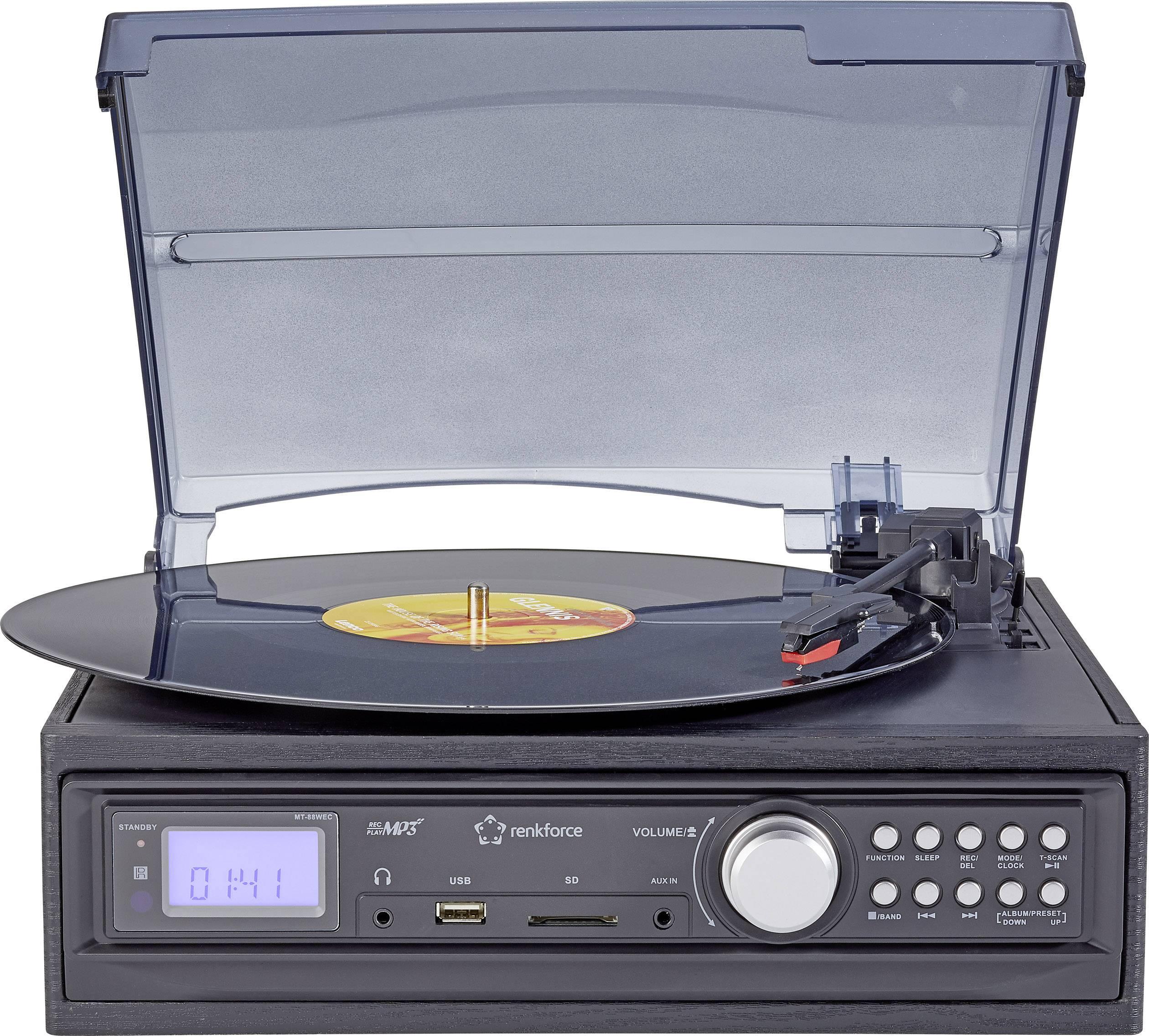 USB gramofon s rádiem Renkforce MT-88WEC , SD čtečka karet, černá