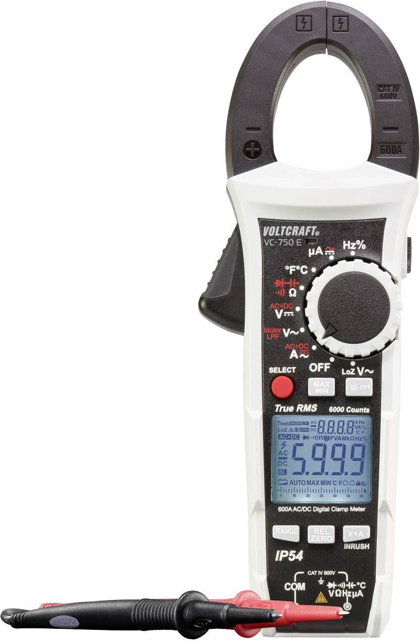 Digitální proudové kleště, multimetr VOLTCRAFT VC-750 E, ochrana proti stříkající vodě (IP54)