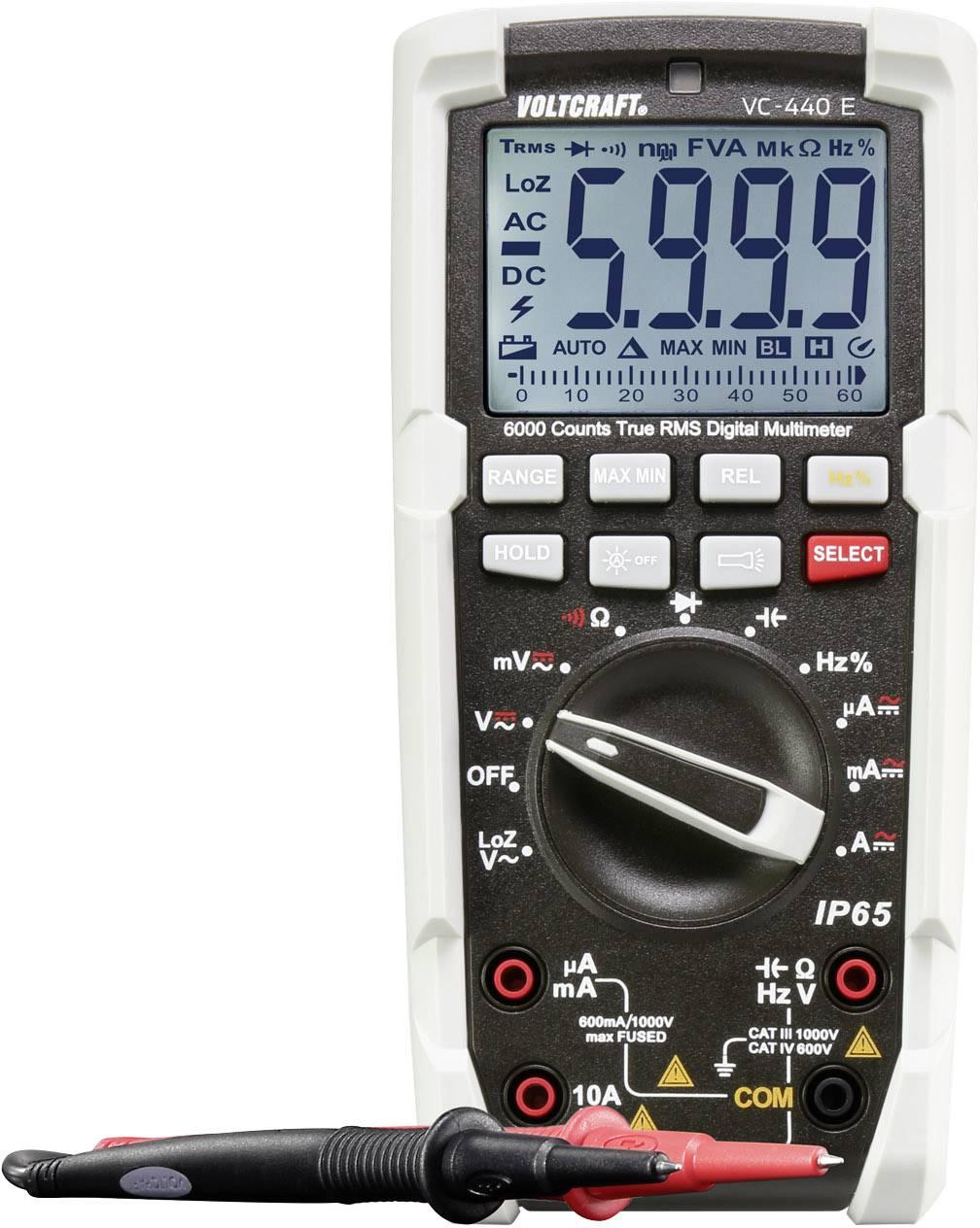 Ručný multimeter digitálne/y VOLTCRAFT VC-440 E, ochrana proti vode (IP65)