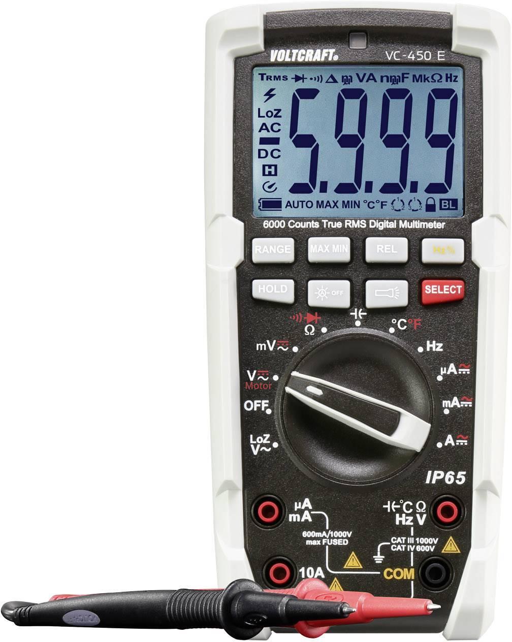 Digitální multimetr VOLTCRAFT VC-450E SE, ochrana proti tryskající vodě (IP65)