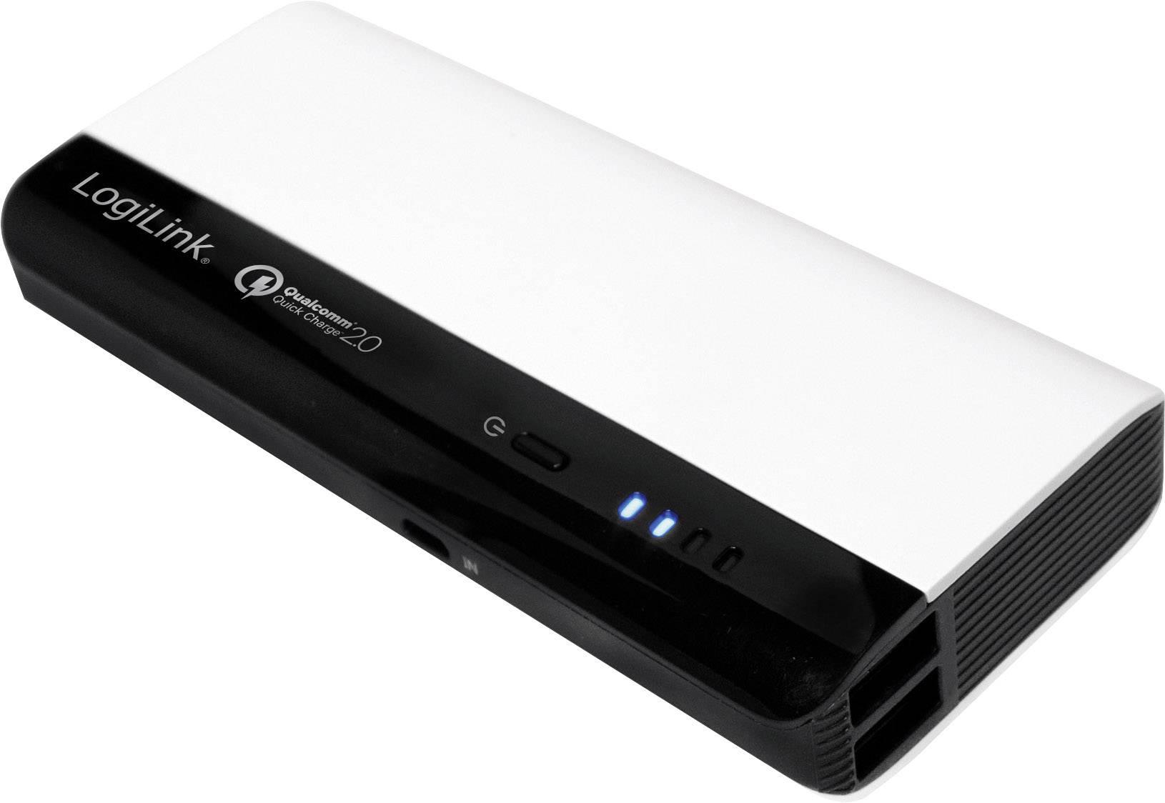 Powerbanka LogiLink Qualcomm 10400, Li-Ion akumulátor 10400 mAh, černá/bílá