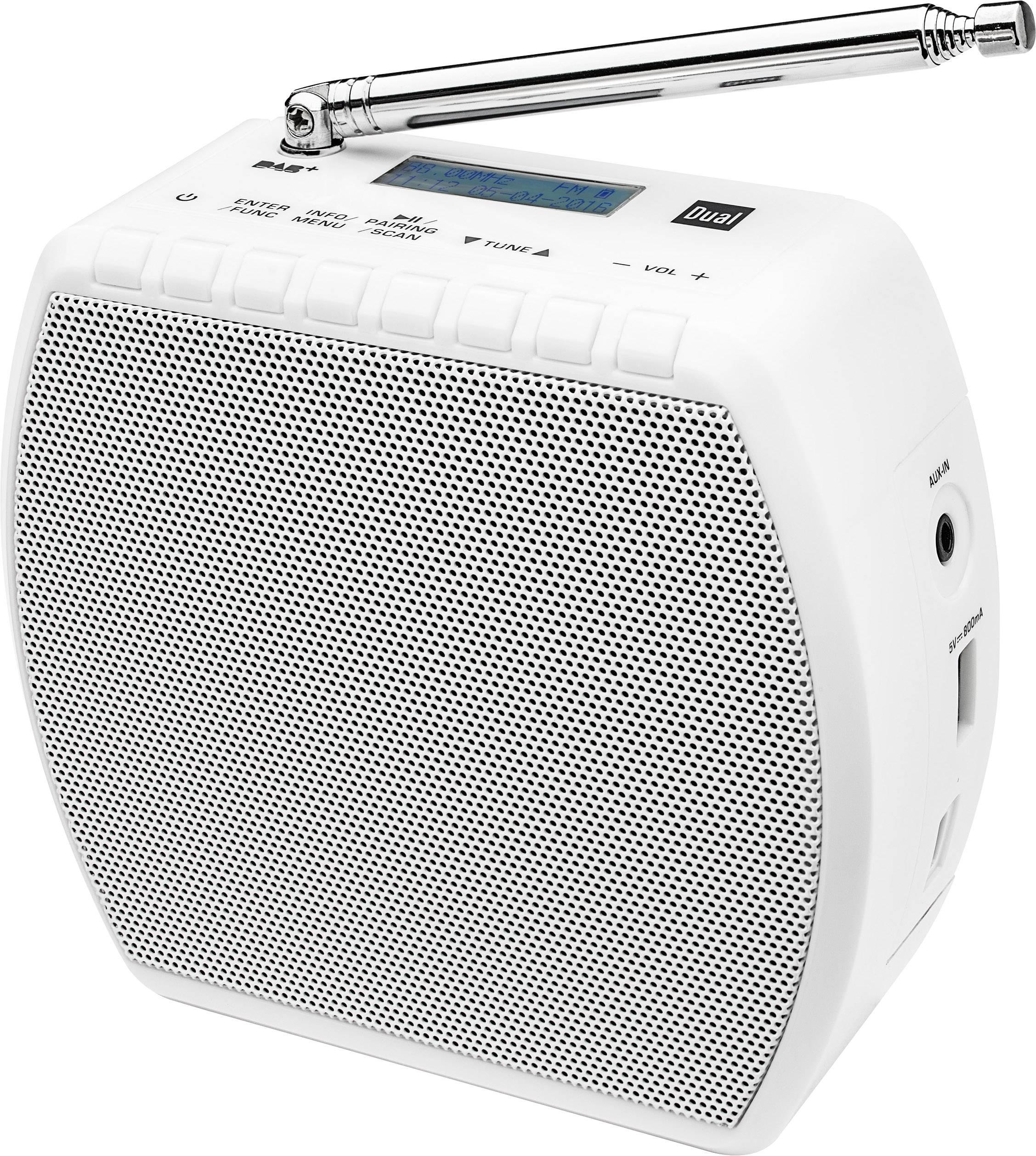 DAB+ rádio do zásuvky Dual STR 100 s Bluetooth a USB nabíječkou mobilov, biela