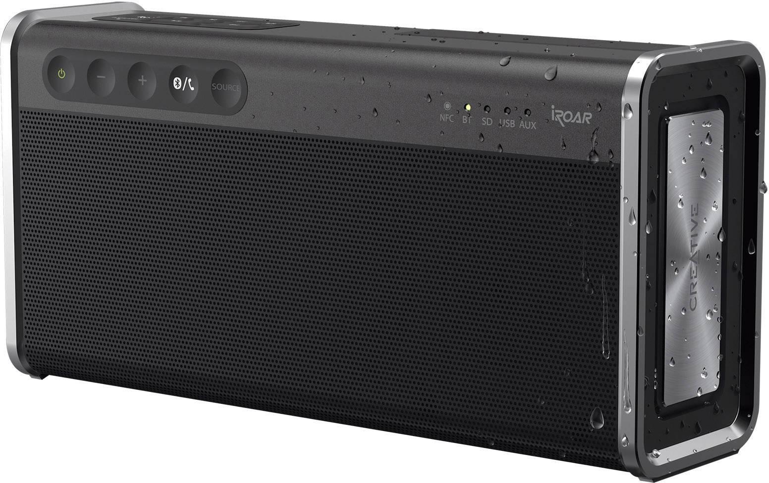 Bluetooth® reproduktor Creative iRoar Go SD paměť. karta, NFC, odolná vůči stříkající vodě, USB, černá