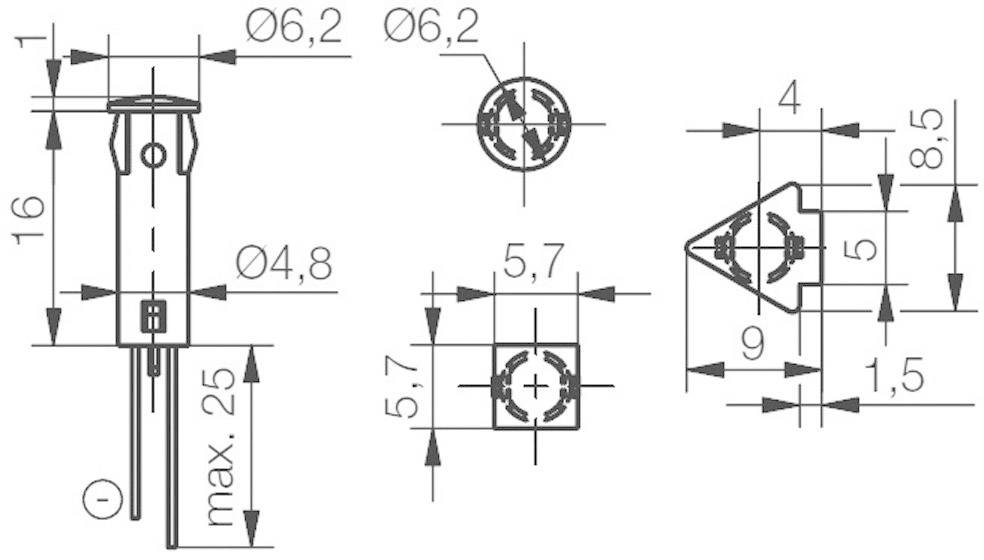 Signálka LED Signal Cons, SKHD05102, 12 V/DC / 12 V/AC, bar./transp, PC pouzdro, žlutá