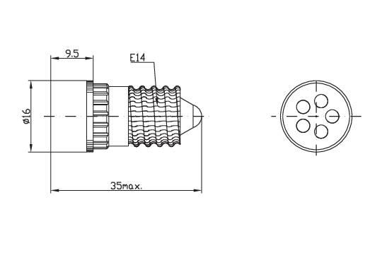 LEDžiarovka Signal Construct MCRE148364, E14, 24 V/DC, 24 V/AC, 13000 mcd, MCRE 148 364, biela