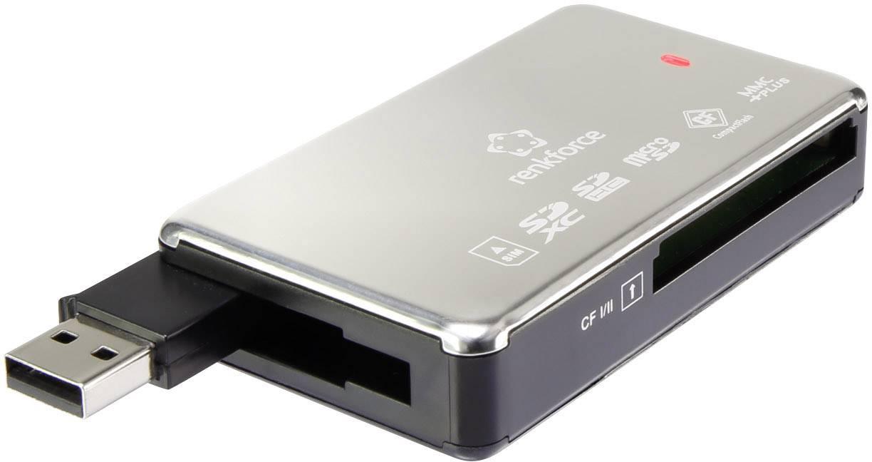 USB externí čtečka paměťových karet Renkforce Cr52e, stříbrná