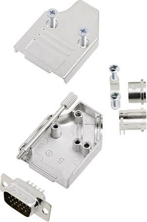 Sada D-SUB kolíkové lišty encitech MHDM35-09-HDP15-K, 45 °, pólů 15, pájecí kalíšek, 1 sada