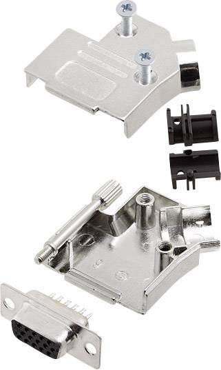 Sada D-SUB zásuvková lišta encitech D45ZK09-HDS15-K, 45 °, pólů 15, pájecí kalíšek, 1 sada