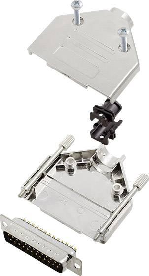 Sada D-SUB kolíkové lišty encitech DTPK-M-25-DBP-K, 180 °, pólů 25, pájecí kalíšek, 1 sada