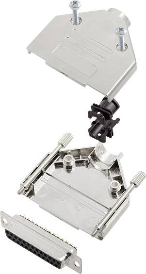 Sada D-SUB zásuvková lišta encitech DTPK-M-25-DBS-K, 180 °, pólů 25, pájecí kalíšek, 1 sada
