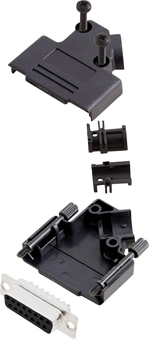 Sada D-SUB zásuvková lišta encitech D45PK-P-15-DBS-K, 45 °, pólů 15, pájecí kalíšek, 1 sada