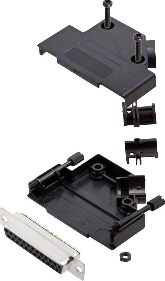 Sada D-SUB zásuvková lišta encitech D45PK-P-25-DMS-K, 45 °, pólů 25, pájecí kalíšek, 1 sada