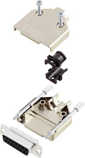Sada D-SUB zásuvková lišta encitech DTPK-M-15-DMS-K, 180 °, pólů 15, pájecí kalíšek, 1 sada