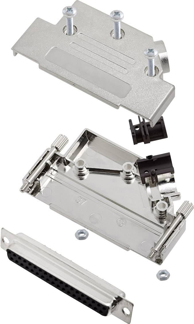 Sada D-SUB zásuvková lišta encitech D45PK-M-37-DMS-K, 45 °, pólů 37, pájecí kalíšek, 1 sada