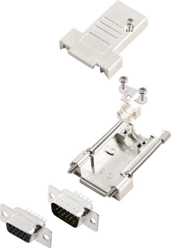 Sada D-SUB zásuvková lišta encitech DTSL15-T-JSRG+HDS26-K, 180 °, pólů 26, pájecí kalíšek, 1 sada