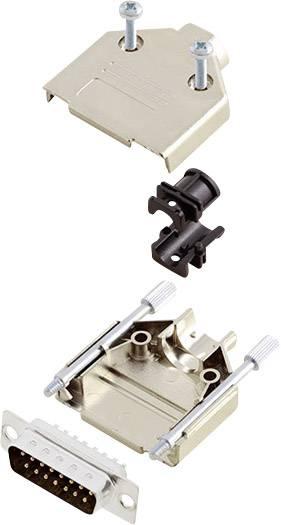 Sada D-SUB kolíkové lišty encitech DTPK-M-15-DBP-K, 180 °, pólů 15, pájecí kalíšek, 1 sada