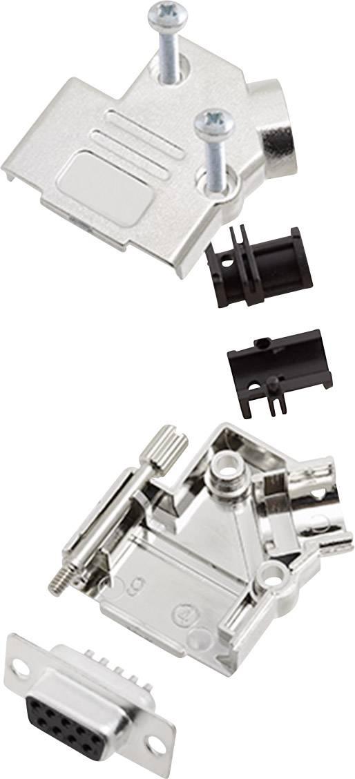Sada D-SUB zásuvková lišta encitech D45PK-M-09-DMS-K, 45 °, pólů 9, pájecí kalíšek, 1 sada