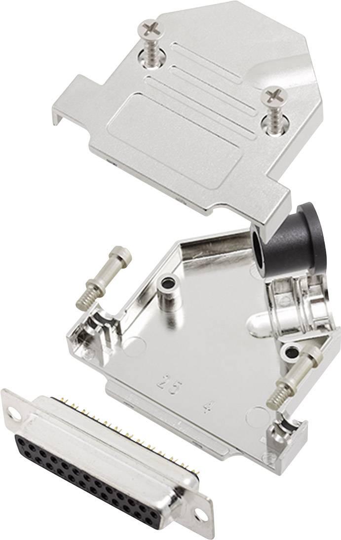 Sada D-SUB zásuvková lišta encitech D45NT25-M-DBS-K, 45 °, pólů 25, pájecí kalíšek, 1 sada