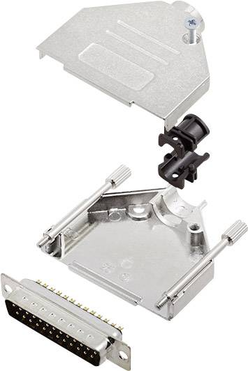 Sada D-SUB kolíkové lišty encitech DTZK25-DBP-K, 180 °, pólů 25, pájecí kalíšek, 1 sada