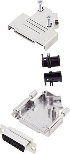 Sada D-SUB zásuvková lišta encitech D45ZK15-DBS-K, 45 °, pólů 15, pájecí kalíšek, 1 sada