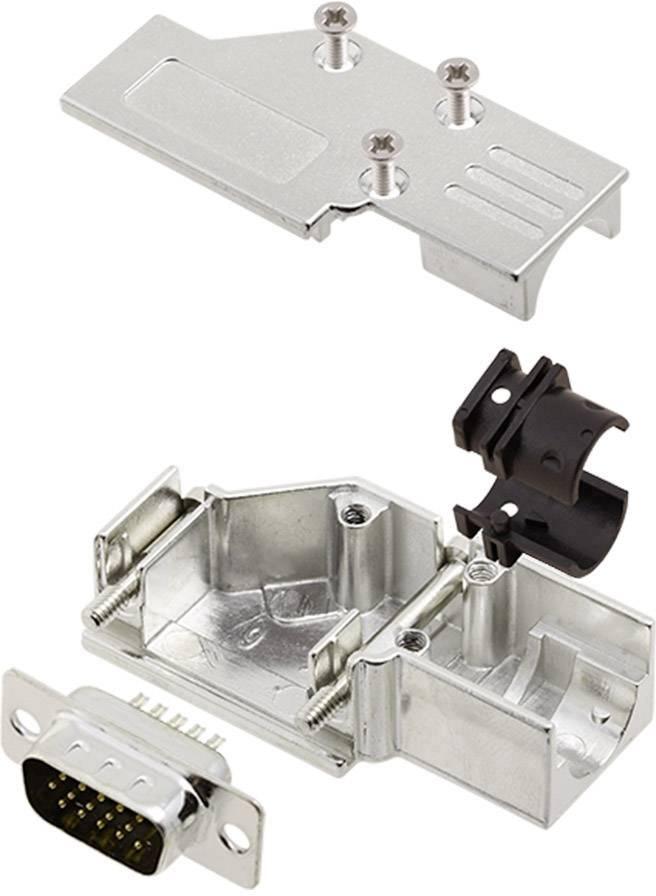Sada D-SUB kolíkové lišty encitech DCMR-FK-09-HDP15-K, 90 °, pólů 15, pájecí kalíšek, 1 sada