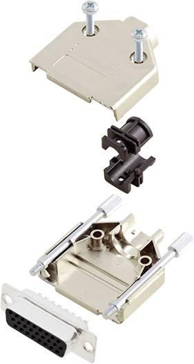 Sada D-SUB zásuvková lišta encitech DTPK09-M-HDS15-K, 180 °, pólů 15, pájecí kalíšek, 1 sada