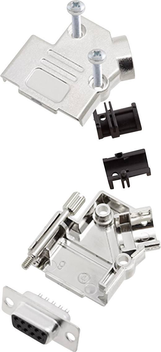 Sada D-SUB zásuvková lišta encitech D45PK-M-09-DBS-K, 45 °, pólů 9, pájecí kalíšek, 1 sada
