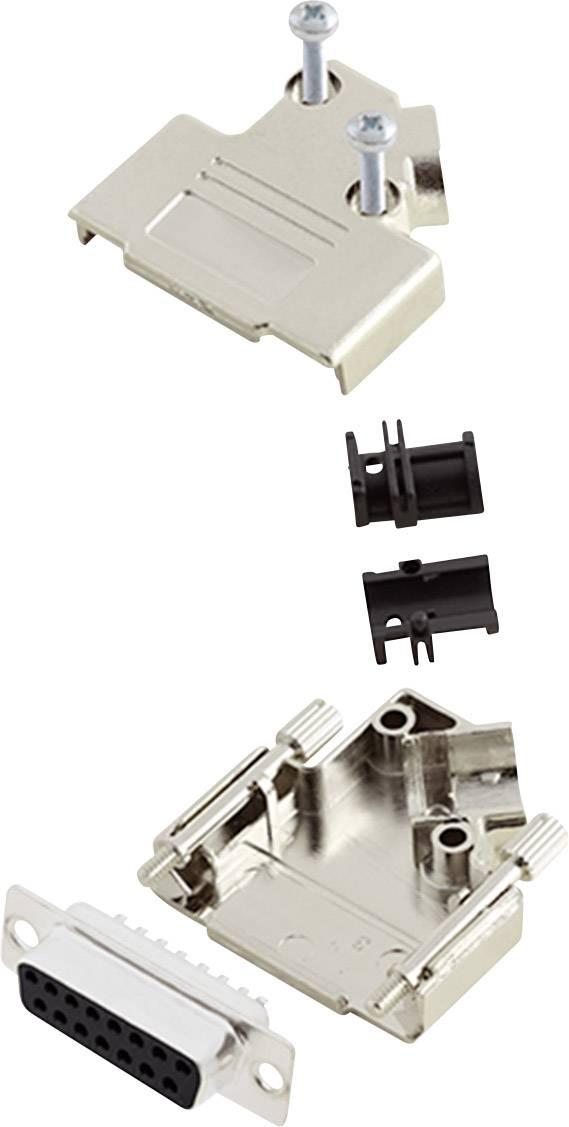 Sada D-SUB zásuvková lišta encitech D45PK-M-15-DMS-K, 45 °, pólů 15, pájecí kalíšek, 1 sada