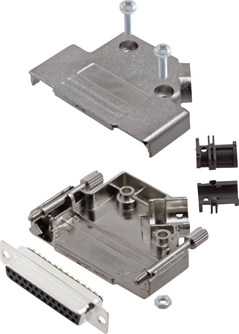 Sada D-SUB zásuvková lišta encitech D45PK-M-25-DMS-K, 45 °, pólů 25, pájecí kalíšek, 1 sada