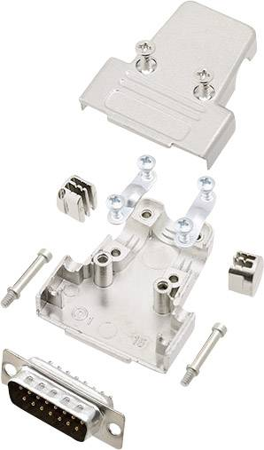 Sada D-SUB kolíkové lišty encitech TRI-M-15-DMP-K, 180 °, pólů 15, pájecí kalíšek, 1 sada