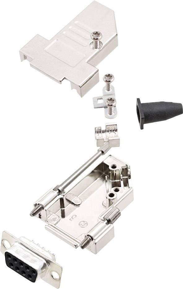 Sada D-SUB zásuvková lišta encitech DTSL09-S-JSRG+DBS-K, 45 °, pólů 9, pájecí kalíšek, 1 sada